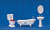 AZT5245 - Porcelain Bath Set, 4Pc, W/Lflowers/Cs