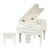 AZT5339 - Carved Piano with Stool, White