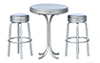 AZT5916 - Tall Table with 2 Stools, Silver