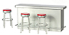 AZT5938 - 1950S Counter with 3 Stools, Red