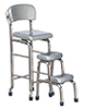 AZT5953 - Kitchen Stool with Step, Silver