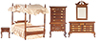 AZT6098 - Canopy Bedroom Set, Walnut, 5pc