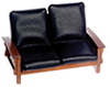 AZT6236 - Sofa, Black Leather, Walnut