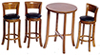 AZT6264 - Tall Table with 3 Stools, Walnut