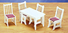 AZT6340 - Kitchen Table with 4 Chairs, White, Cs