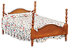AZT6450 - Double Bed, Walnut, Assorted Fabric, Cs