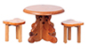 AZT6464 - Small Table with 2 Bear Stools