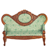 AZT6511 - Victorian Sofa, Light Green and Walnut