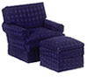 AZT6668 - Traditional Club Chair with Ottomon, Blue