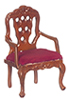 AZT6802 - Carved Back Armchair, Red/Walnut