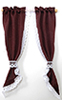 BB70039 - Curtains: Demi Tie Back, Burgandy with White Lace Trim