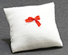 Pillow, White With Red Bow