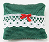 Pillow, Green With Red Bow