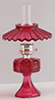 CB075B - Small Oil Lamp with Shade, Cranberry