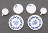 CB099B - Decorated Dishes, Blue, 6/Piece