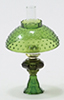 CB104G - Oil Lamp With Hobnail Shade, Green