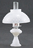 CB104M - Oil Lamp With Hobnail Shade, Milk Glass