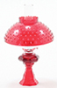 CB104R - Oil Lamp With Hobnail Shade, Red