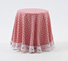 CB124P - Skirted Table-Pink Mini Dot