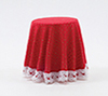 CB124R - Skirted Table-Red Mini Dot