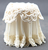 CB126I - Lace Top Skirted Table, Ivory