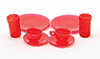 CB129R - Dishes, Red, 8/Pc