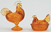 CB152A - Rooster and Hen Figurines, Amber
