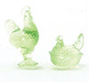 CB152G - Rooster and Nesting Hen Figurines, Green