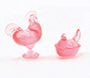 CB152P - Rooster and Hen Figurines, Pink