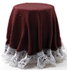 CB173B - Skirted Table: Burgundy with White Lace Trim