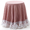 CB173R - Skirted Table: Dusty Rose with White Lace Trim