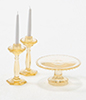 CB70A - Cake Plate with 2 Candlesticks, Amber