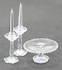 CB70C - Cake Plate with 2 Candlesticks, Clear