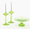 CB70G - Cake Plate with 2 Candlesticks, Green