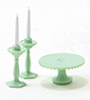CB70J - Cake Plate with 2 Candlesticks, Jadite