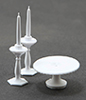 CB70W - Cake Plate with 2 Candlesticks, White