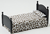 CLA10452 - Single Bed, Black with Brown and White Floral Fabric