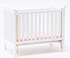 CLA10604 - Slatted Nursery Crib, White with Pink Fabric