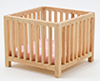 CLA10608 - Slatted Play Pen, Oak with Pink Fabric