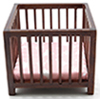 CLA10611 - Slatted Play Pen, Walnut with Pink Fabric