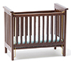 CLA10617 - Slatted Nursery Crib, Walnut with Blue Pattern Fabric