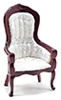 CLA10699 - Victorian Gent's Chair, Mahogany with White Brocade Fabric