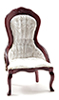 CLA10700 - Victorian Lady's Chair, Mahogany with White Brocade Fabric