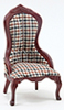 CLA10703 - Vict Lady'S Chair, Mahogany,Plaid Fabr