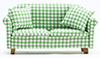 Sofa with Pillows, Green/White Checked