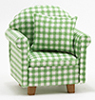 CLA10779 - Chair with Pillow, Green/White Checked