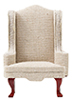 CLA10807 - Chair, Mahogany with Beige Fabric