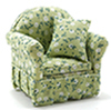 CLA10825 - Chair with Green Floral Fabric 3-1/4 X 3-1/4