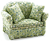 CLA10826 - Sofa with Green Floral Print Fabric