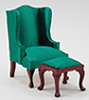 CLA10870 - Wingback Chair W/Stool, Green, Mah